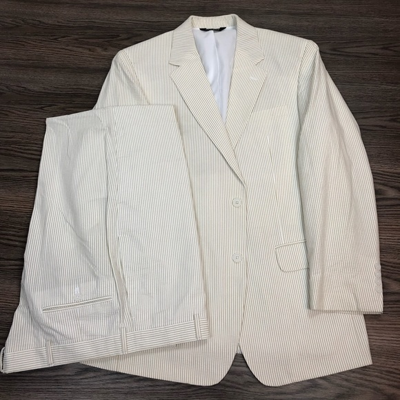 Jos. A. Bank Other - Jos A Bank Tan & White Seersucker Stripe Suit 41L